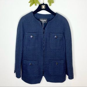 Authentic Chanel Tweed Zip Evening Jacket NWT